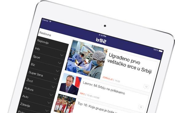 B92 iPad aplikacija